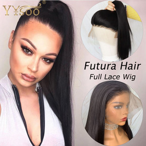 Perucas completas sintéticas do laço de yysoo futura para as mulheres cor preta longa japão resistente ao calor do cabelo da fibra reta peruca natural da linha fina