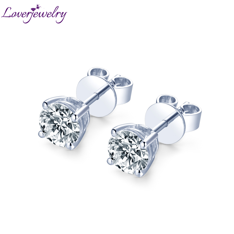 14k Mossanite boucles d'oreilles en or blanc naturel rond Moissanite boucles d'oreilles pour les femmes fiançailles mariage anniversaire bijoux fins