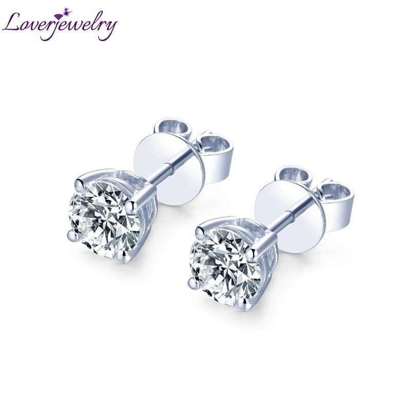 14kt Moissanite Stud Earrings White Gold Natural Round Moissanite Earrings For Women Engagement Wedding Anniversary Fine Jewelry