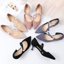 Zapatos de tacón alto para mujer, zapatos de oficina para mujer, elegante, con punta en pico, zapatos de tacón con perlas, sandalias de boda informales Sexy para mujer de talla grande, 2020