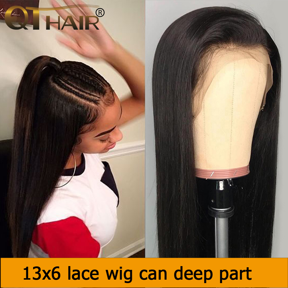 13x6 Deep Part Lace Front Human Hair Wigs Straight Hair 150% Density Brazilian Remy Human Hair Pre-Plucked Hairline QT Hair