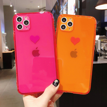 Fluorescent Love Shockproof Phone Case For IPhone 11 Pro Max XR X XS Max 7Plus 7 8 Plus Neon Case Soft Funda Coque Phone Cover image
