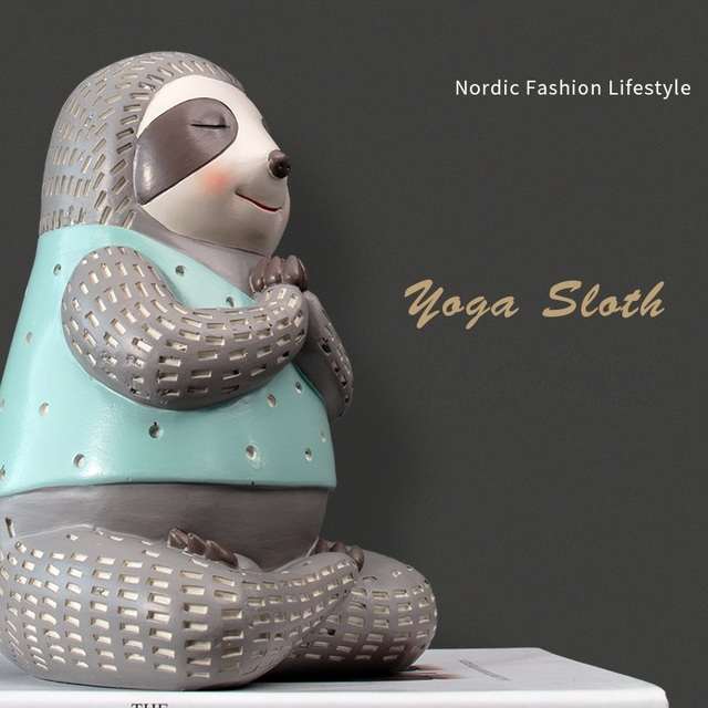 Yoga Sloth Statue Home Decor Chindren Room Ornament Lovely Animal Sculpture Nordic Style Decoration 5