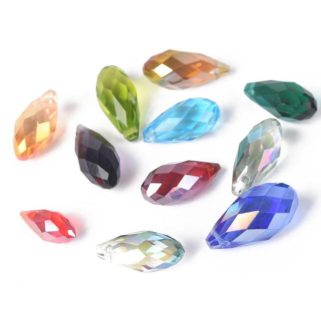 Teardrop Faceted Crystal Glass Looses Crafts Beads 8x12mm Z6K5