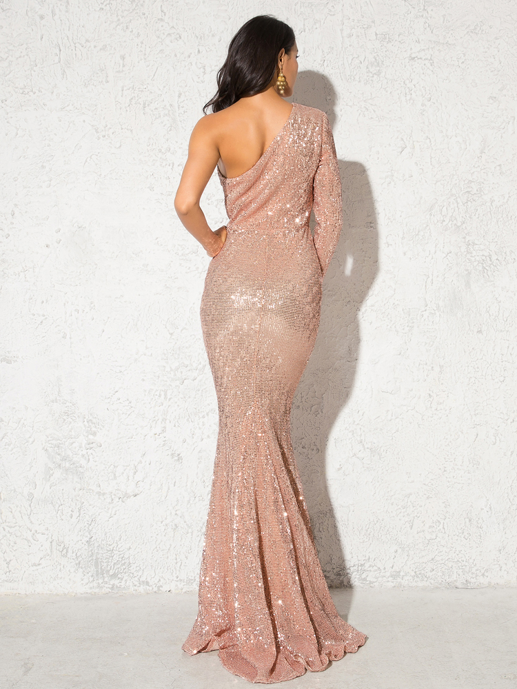 One Shoulder Stretchy Backless Sequin Long Bridesmaid Dress 9