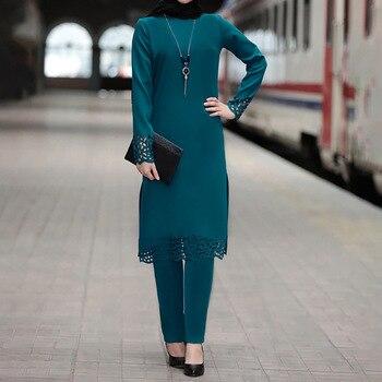 Two Piece Sets Tops and Pants Women Turkey Muslim Abaya Split Abaya Dresses Ramadan Moroccan