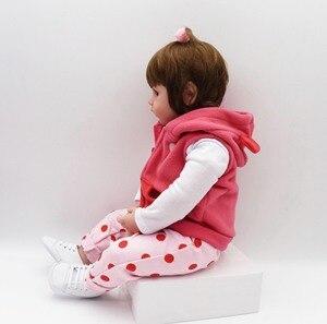 Image 3 - 19インチ48センチメートルベベ女のリアルな人形ベビー新生児のおもちゃ子供のためのクリスマスプレゼントや誕生日ギフト笑人形おもちゃ