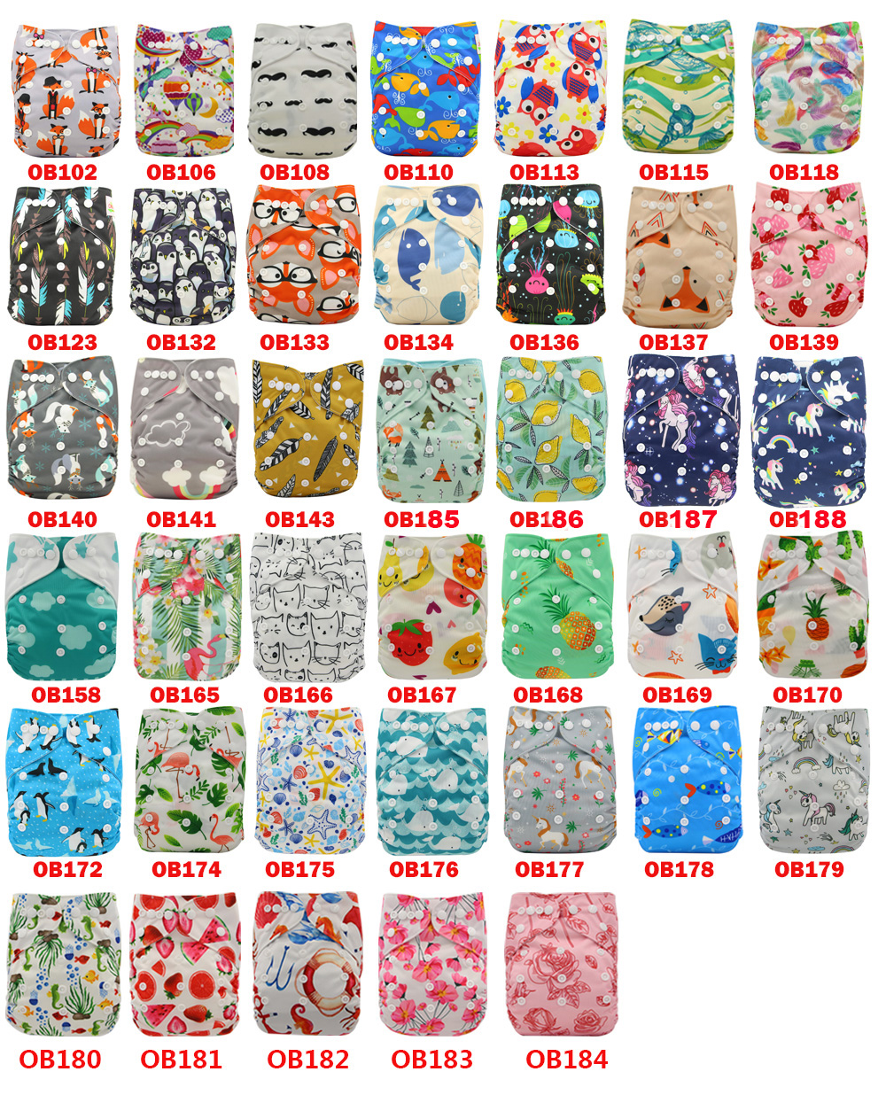 Wholesale Ohbabyka Baby Cloth Diaper Cartoon Print Baby Nappy Changing Pocket Diaper Cover Reusable Nappies Baby Shower Gift