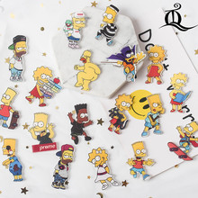 Hot 1PCS the Simpsons cartoon brooch Mix Icons On backpack Acrylic Badges Cartoon Pin Badges For Clothes Decoration Badge Z77