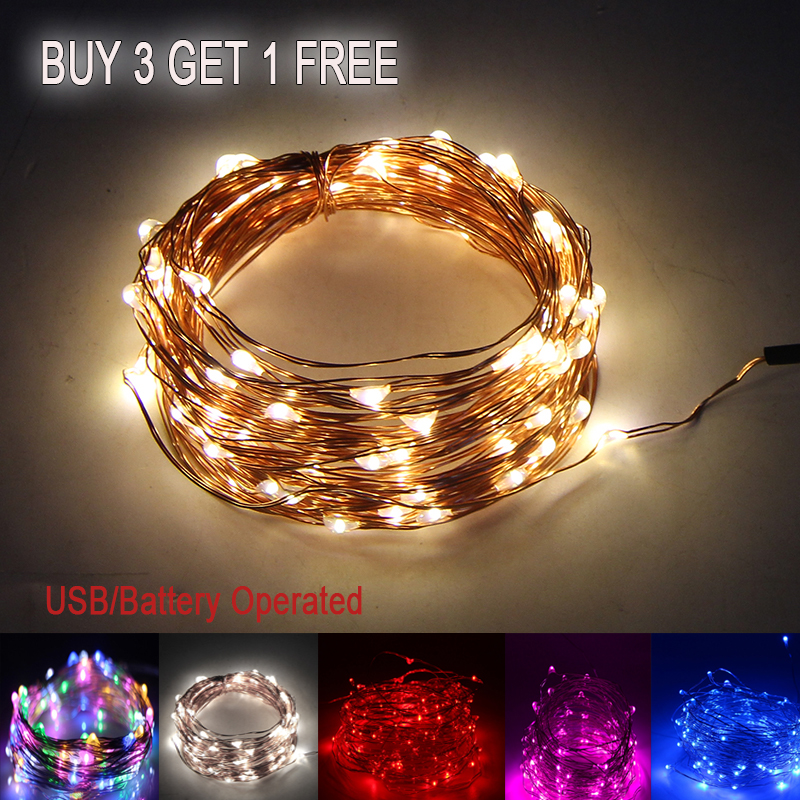 LED String Light Holiday Copper Wire Fariy Light USB/Battery Garland Decoration 2M 5M 10M Wedding Christmas Light Party Lights