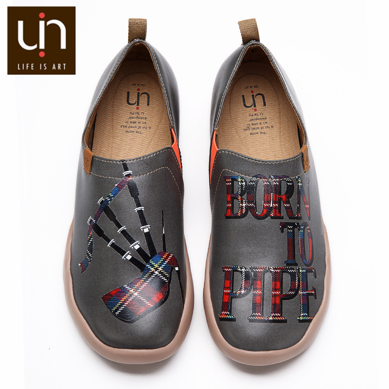 UIN Brand Casual Flat Shoes Women/Men Microfiber Leather Loafers Art Painted Shoes Autumn/Spring Fashion Sneakers Lightweight