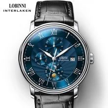 цены Switzerland wrist watch LOBINNI Men Watches  Seagull Automatic Mechanical Clock Sapphire Moon Phase relogio masculino L1023B-5