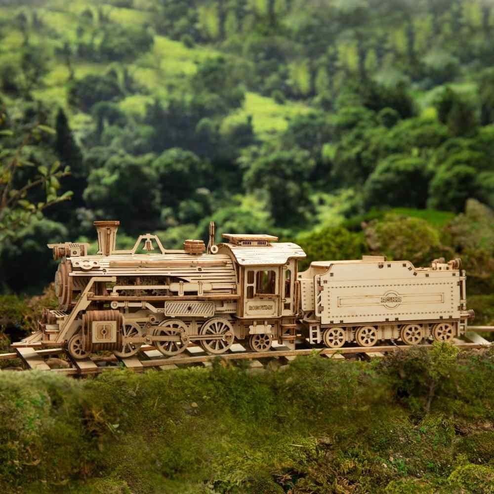 Robotime Model pociągu 3D drewniane Puzzle zabawki montaż lokomotywa zestaw klocków dla dzieci prezent urodzinowy dla dzieci