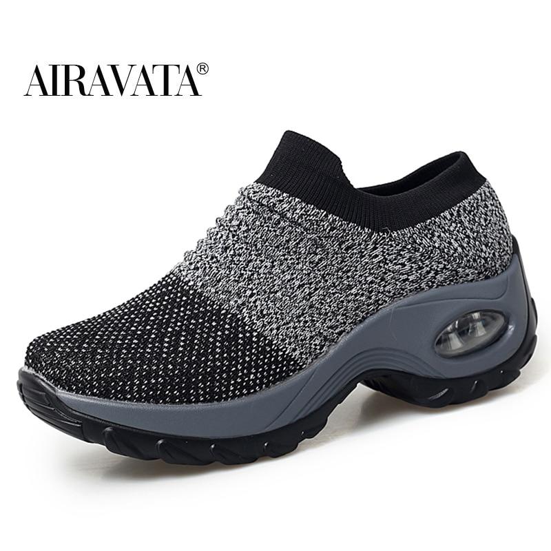Gray-Women's walking shoes Fashion Casual Sport Shoes Platform Sneakers