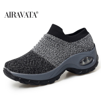 Gray-Women's walking shoes Fashion Casual Sport Shoes Platform Sneakers