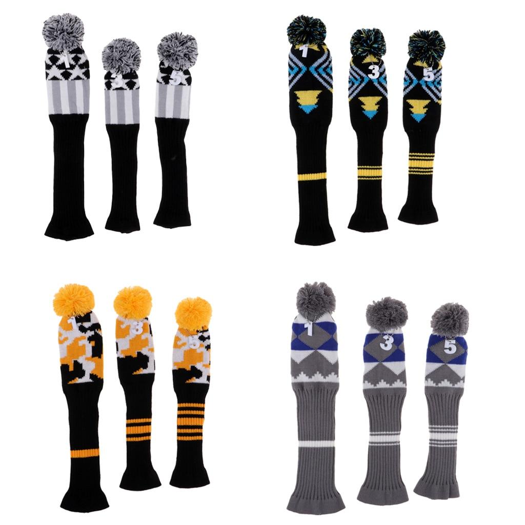 3Pcs Golf Club Driver Head Cover Pom Pom Golf Head Covers Headcover Protective Sleeve No.#1 #3 #5 Knit Socks