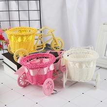 Flower Basket Pot Rattan Bicycle Storage Basket Float Vase Plant Stand Holder Tricycle Bike Design Organizer