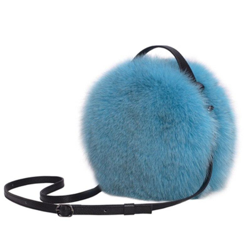Luxo outono e inverno mulheres ombro saco de cabelo raposa moda senhora redonda saco macio 2019 jovens senhoras crossbody saco feminino - 2