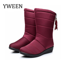 YWEEN New Women Boots Female Winter Boots Waterproof Warm Snow Boots Ladies Mid-Calf Shoes Woman Warm Fur Botas Mujer Booties quanzixuan2018 new women boots winter ankle boots female waterproof warm women snow boots women shoes woman warm fur botas mujer