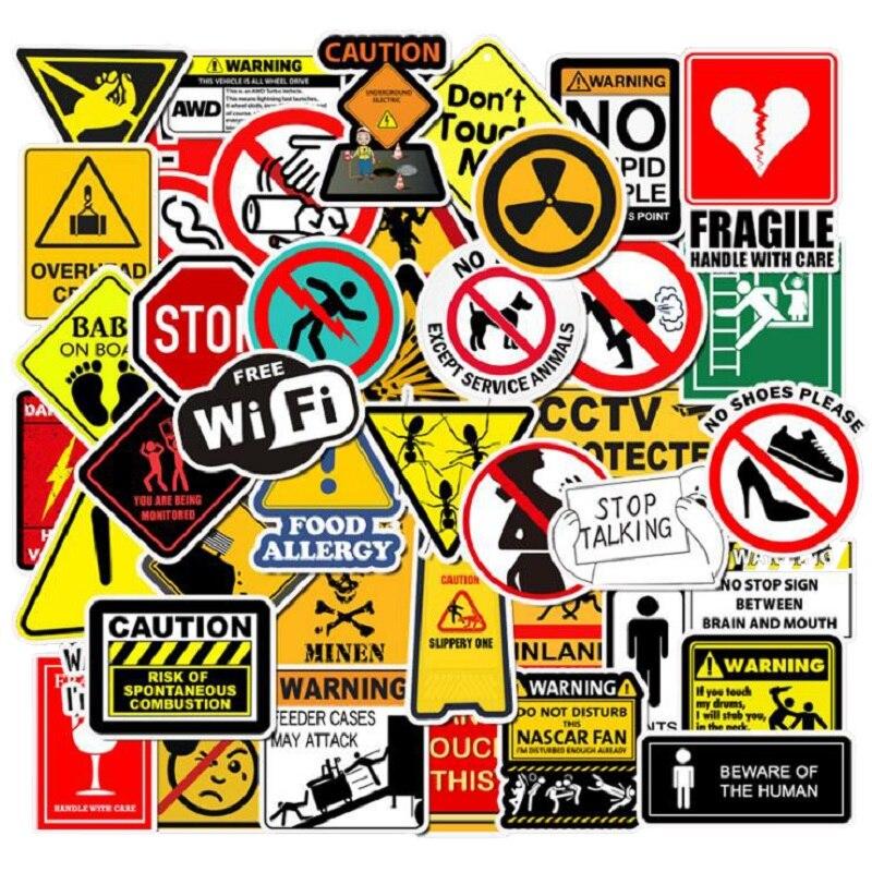 50PCS Warning Stickers Danger Banning Signs Reminder Waterproof Sticker To DIY Laptop Motorcycle Luggage Snowboard Car Decal