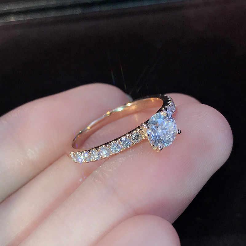 Letapi 925 Perhiasan Perak 1.5ct AAA Zirkon Cincin Pertunangan Wanita Warna Rose Gold Crystal Cincin Pernikahan untuk Wanita