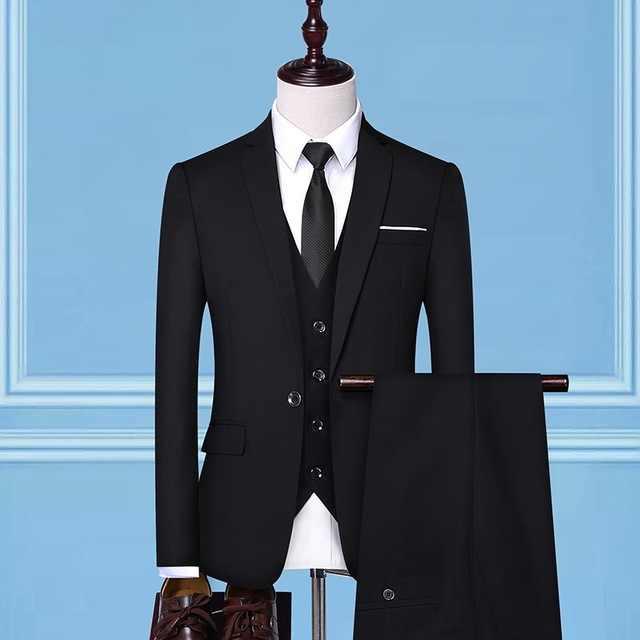 Mannen Marine Blauw Zwart Rood Grijs Business Slim Fit Pak Bruiloft Tuxedo Bruidegom Pak voor Mannen 3 Delige Pakken met Blazer Vest Broek 4XL