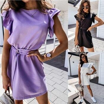 Summer popular in Europe and America hot sale lotus leaf short sleeve round neck ladies dress