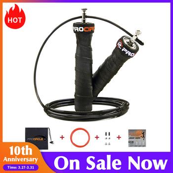 Skakanka Crossfit pomiń prędkość i ważone skakanki z dodatkowymi prędkościami łożyska kulkowe antypoślizgowy uchwyt antypoślizgowy do podwójnych podciągów tanie i dobre opinie procircle Single Skip Rope Plastic 3 m (Personal) Comprehensive Fitness Exercise Speed jump rope with Sweat-absorbent handle