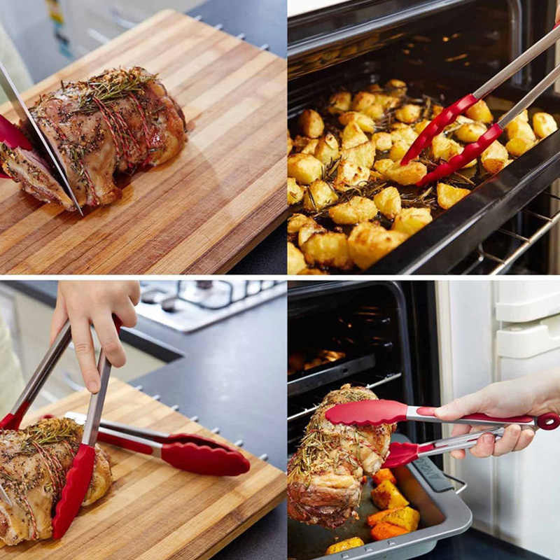 1PC สแตนเลสสตีลอาหารโฟลเดอร์ห้องครัวร้านอาหารอาหารขนมปังผักผลไม้ขนมปังโฟลเดอร์คลิปครัวเครื่องมือ