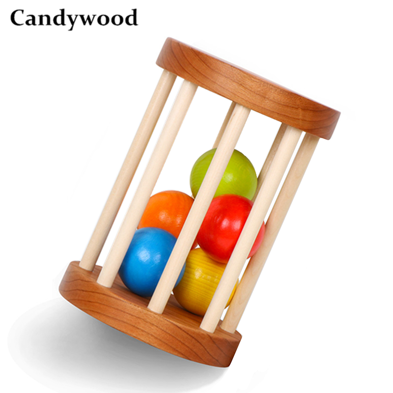 Cherry Wood Baby Rattle Orangic Baby Toys Wooden Rattle Handmade Hand Teething Wooden Ring Montessori Educational Toy Let's Make