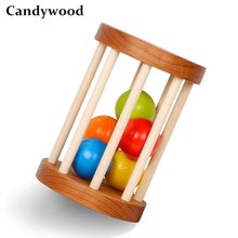 Cherry Wood Baby Rattle Orangic Baby Toys Wooden Rattle Handmade Hand Teething Wooden Ring Montessori Educational Toy Let's Make(China)