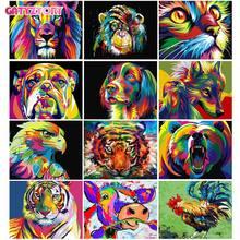 Gatyztoire – cadre acrylique avec numéros 60x75cm, animaux colorés peints à la main, peinture à l'huile par numéros pour décoration de maison, Art
