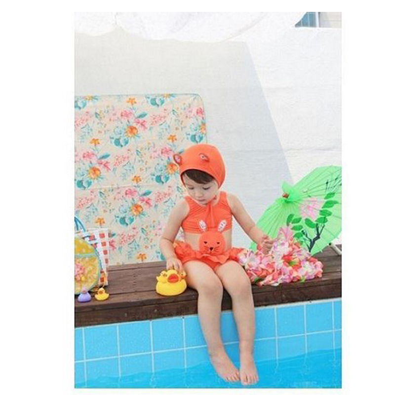 Korean-style Cartoon Cute Bunny One-piece Hot Springs Bathing Suit Girls KID'S Swimwear Special Offer