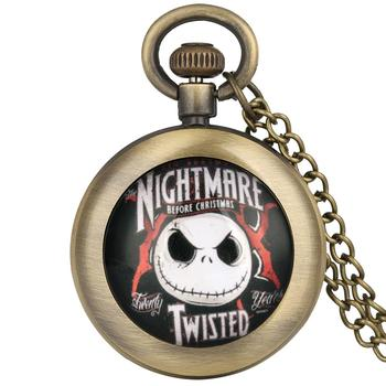 The Nightmare Before Christmas Pocket Watch for Men Women Bronze Pendant Clock Children Gift relojes de bolsillo para hombre 2019 new ebony bronz pocket watches necklacee men quartz pendant watch with chain women gift relojes de bolsillo para hombre