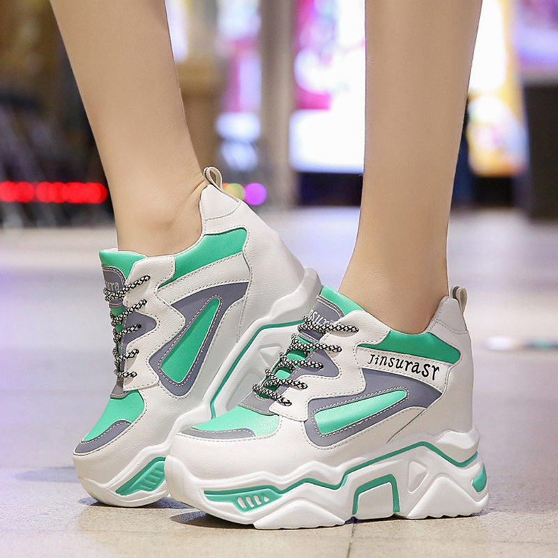 Rimocy High Platform Height Increasing Casual Shoes Woman 2020 Spring Hidden Wedge Sneakers Women Thick Sole Vulcanize Shoes