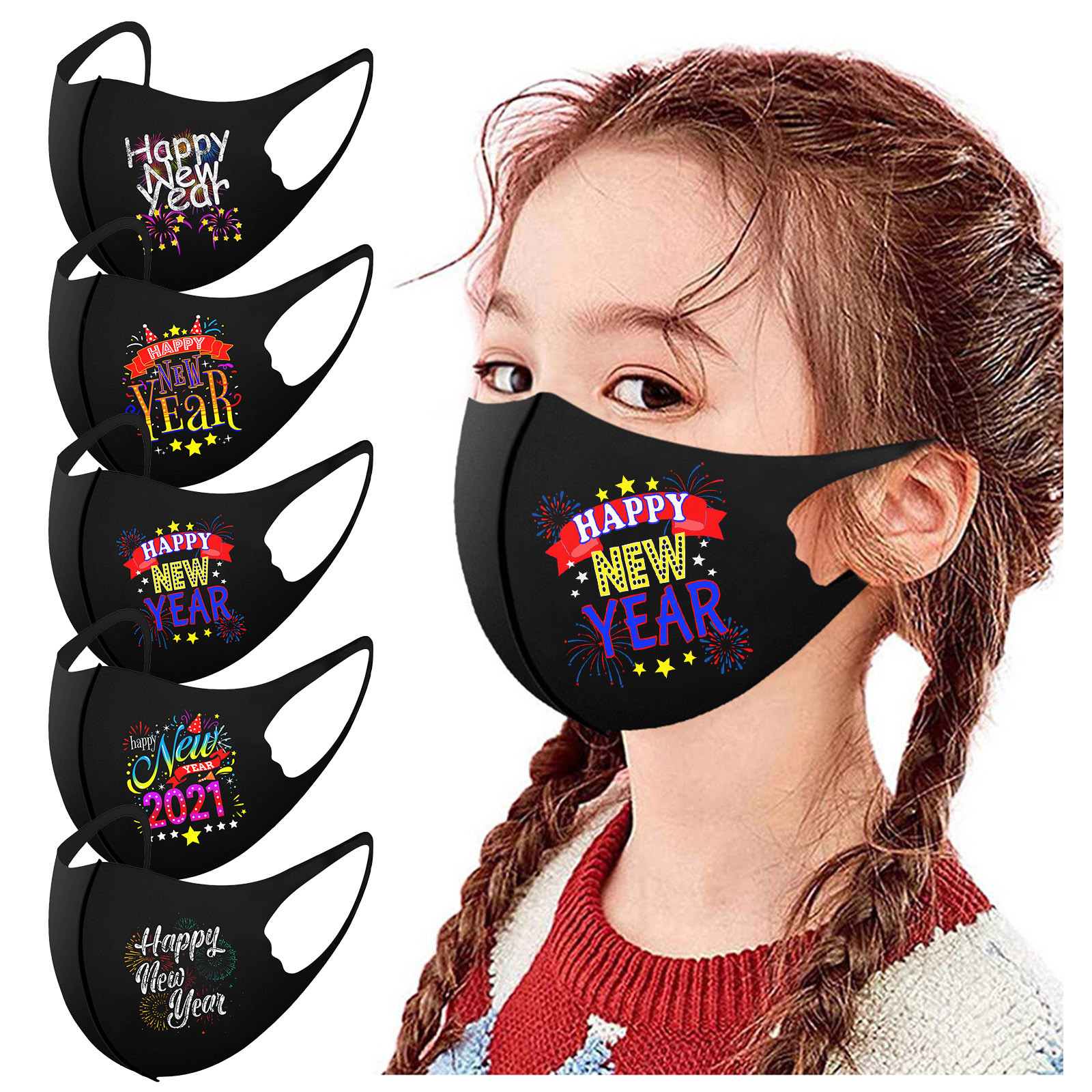 Inverno quente chilren máscara gelo slik algodão máscaras de boca para crianças 2021 feliz ano novo moda boca tampas lavável reutilizável