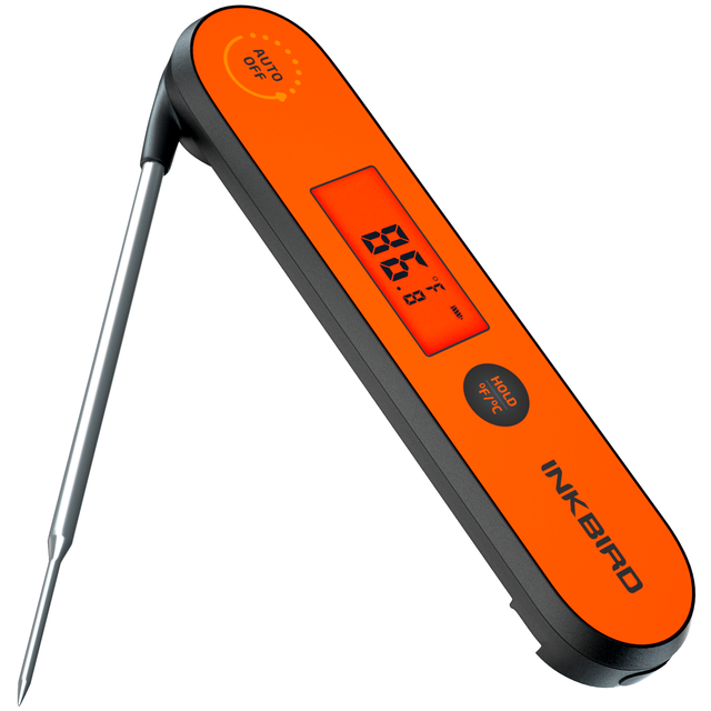 Inkbird Digital Instant Read Meat Thermometer, IHT 1P Waterproof Rechargeable Thermometer with Backlight & Calibration