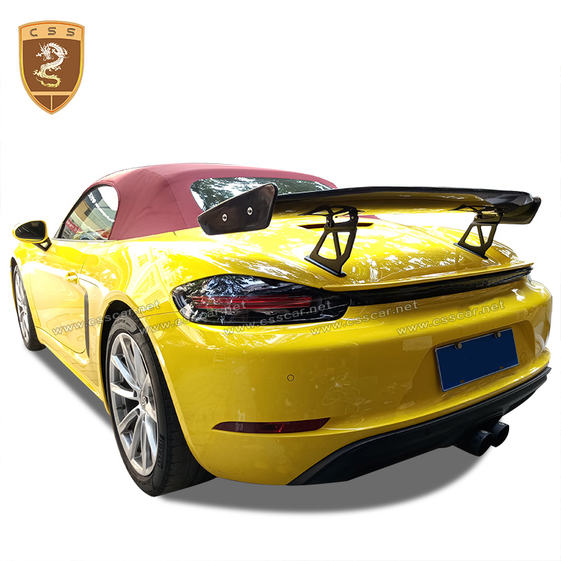 For 17-Up Porsche <font><b>718</b></font> 986 987 981 Cayman & <font><b>Boxster</b></font> GT4 style Carbon Fiber Rear Spoiler Wing Rear Trunk Boot Lid Wing Spoiler image