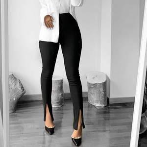 Trousers Elegant Flare-Pants Slim-Fit Front-Slit Streetwear Office High-Waist Women Solid-Color