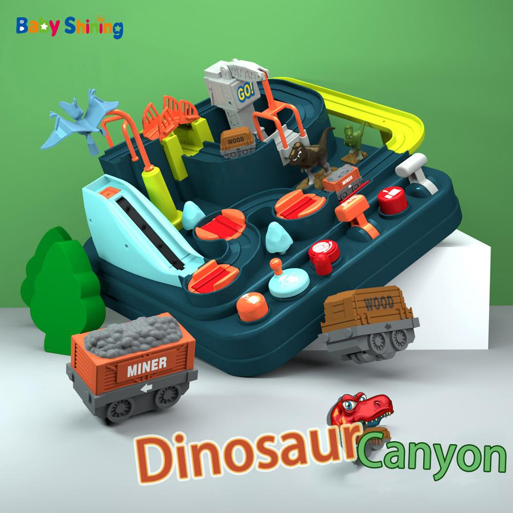 Baby Shining Kids Plastic Model Building Toy Children Puzzle Train Track Toy Boy Dinosaur Set Car Adventure Big Birthday Gift