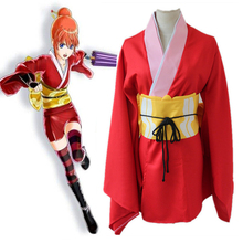 Anime Gintama Cosplay Costumes Kagura Cosplay Costume Kimono Halloween Party Game Women Silver Soul Leader Cosplay Costume cosplay wig inspired by gintama yosiwara yorozuya kagura free shipping