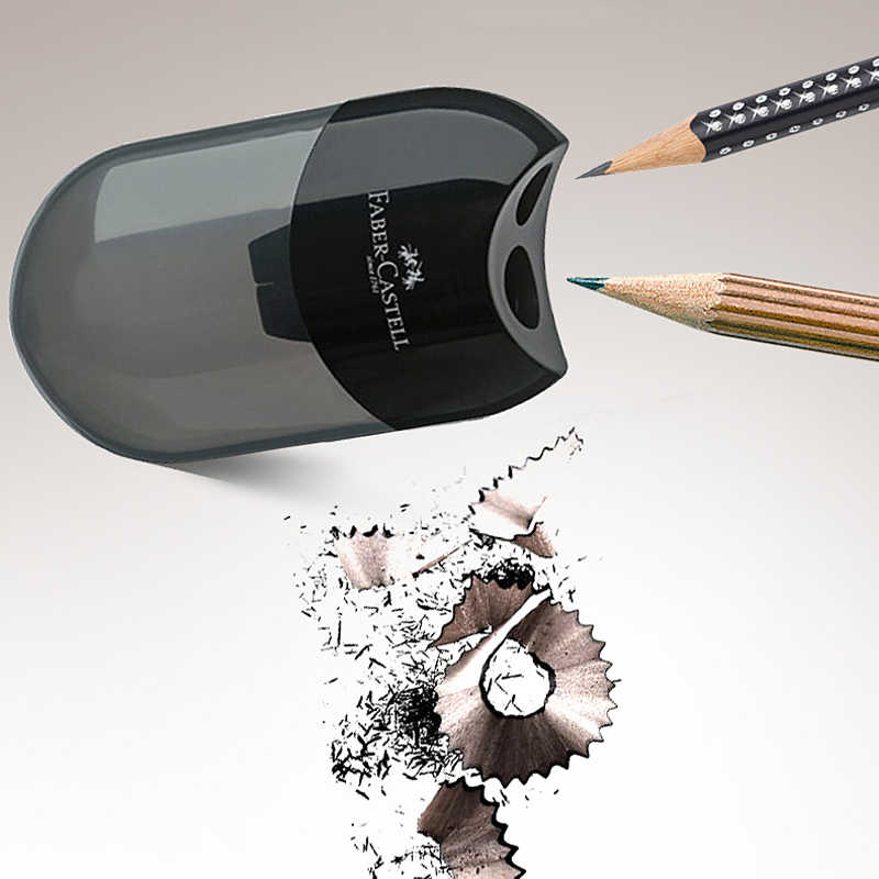 FABER-CASTELL כפול חור עיפרון מחדד יצירתי שקוף עט סכין Kawaii ילד תלמיד חיתוך מכתבים ציוד לבית ספר