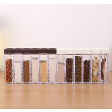 6Pcs New Kitchen Spice Jar Seasoning Box Storage Bottle Jars Transparent Salt And Pepper Cumin Powder