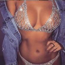 Brilhante sexy cristal cadeia, joias para mulheres biquíni clube noturno strass fio dental e conjunto de calcinhas roupa íntima joias