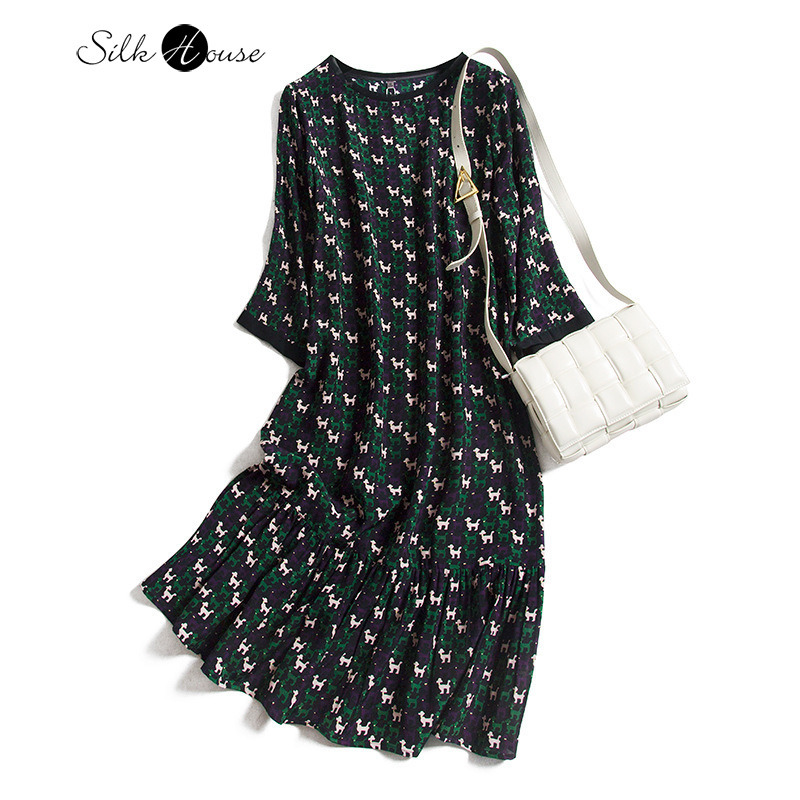 Silk Dress Women's Silk French Non-Mainstream Young Wind Long-Sleeved Skirt X-Long Ruffled Fishtail Skirt Autumn Style