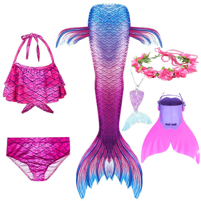 Swimmable Children Mermaid Tails With Monofin Fin Bikinis Set Kids Swimsuit Cosplay Costume for Girl Swimming Dresses Clothes
