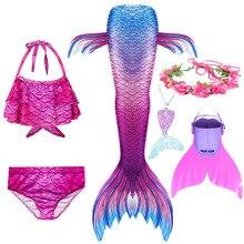Yüzücü çocuk Mermaid kuyruk Monofin ile Fin bikini Set çocuk mayo Cosplay kostüm kız yüzme elbiseler elbise