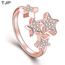 TJP Five-pointed Star Ring Fashion Open Size Rings Gifts for Girls Student Finger Jewelry Accessories