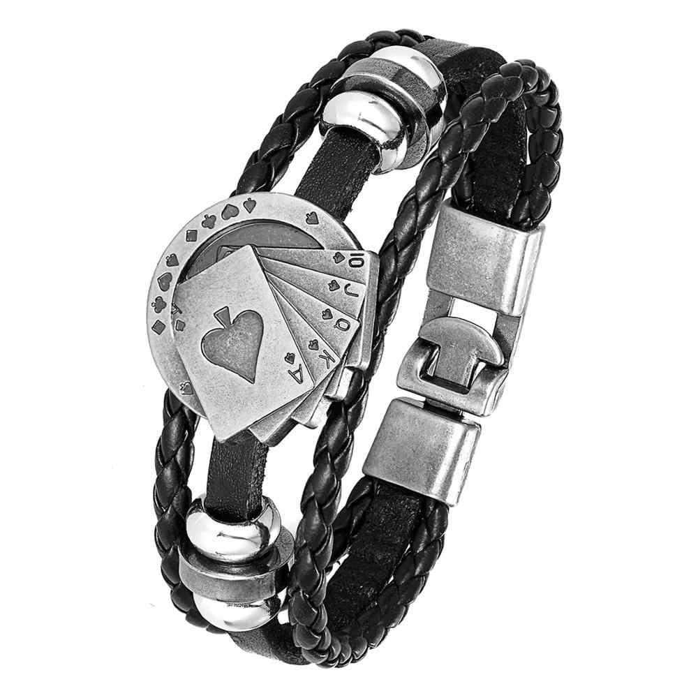 Lucky Vintage Lederen Armband Mannen Poker Raja Vegas Charm Multilayer Geweven Vrouw Pulseira Masculina