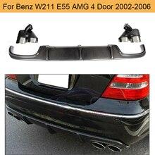 E Class Carbon Fiber rear lip diffuser for Mercedes Benz W211 E55 AMG Sedan 4 Door 2002-2006 four outlet carbon fiber rear roof spoiler lip for mercedes benz s class w221 s63 amg sedan 4 door 2007 2012 car styling